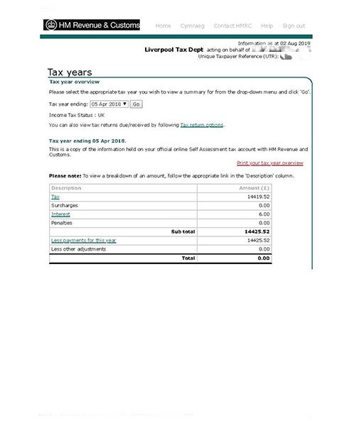 Tax Year Overview Example
